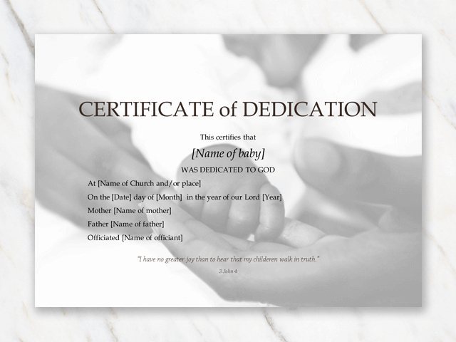 Baby Dedication Certificate Templates Lovely Baby Dedication Certificate Template for Word [free Printable]