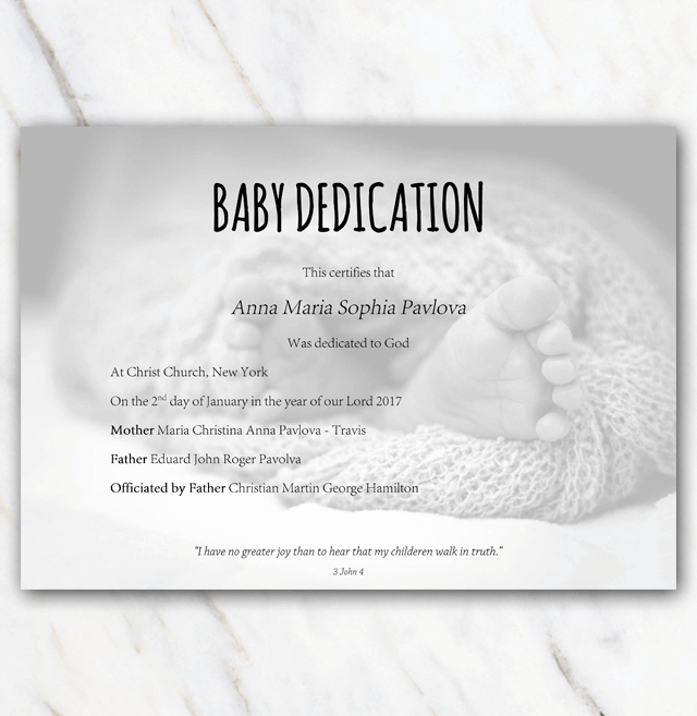 Baby Dedication Certificate Templates Lovely Baby Dedication Certificate with Babyfeet In Blanket On