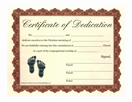 Baby Dedication Certificate Templates Luxury Printable Baby Dedication Certificate