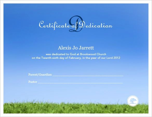 Baby Dedication Certificate Templates Unique Baby Dedication Certificate Template – 19 Free Word Pdf