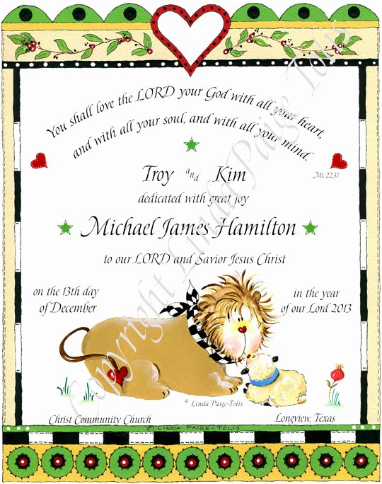 Baby Dedication Certificate Unique Dedication Baptism Personalized Gift Linda Paige tolis Baby
