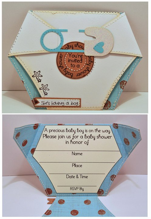 Baby Diaper Invitation Template Beautiful the Cutting Cafe Diaper Shaped Card & Invite Set