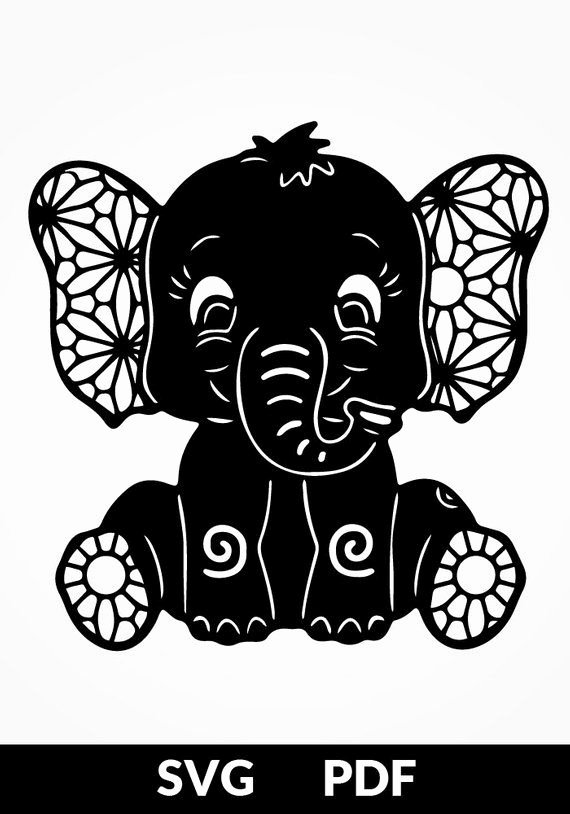 Baby Elephant Cut Out Template Luxury Two Designs Svg Pdf Cut File Papercutting Template