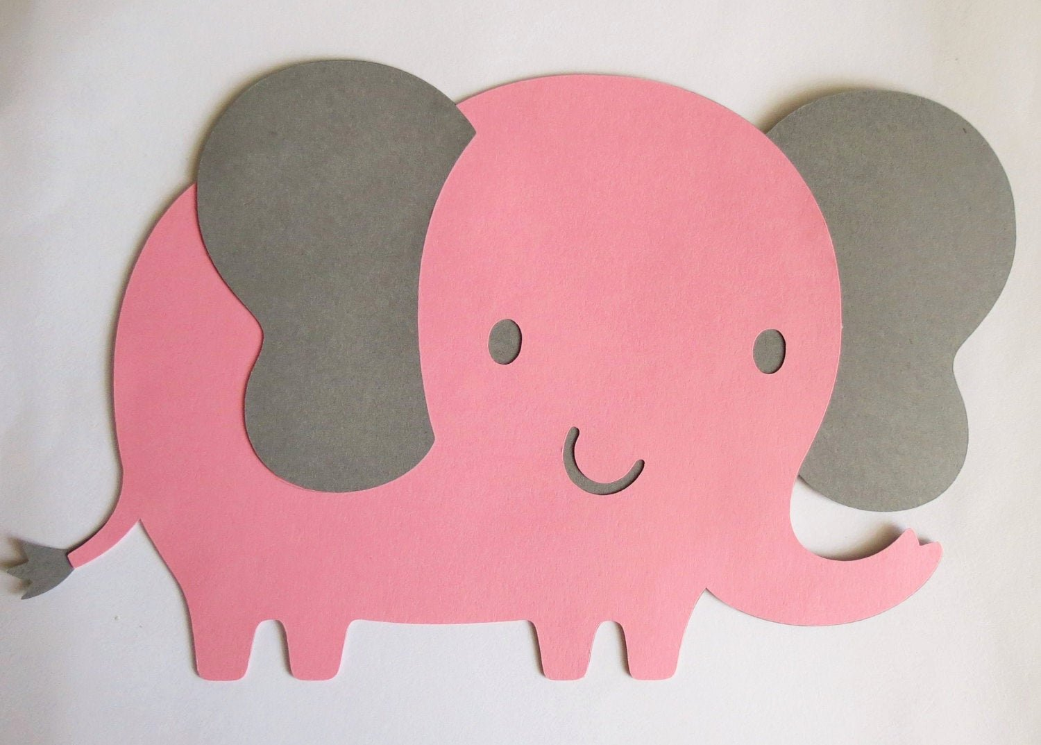 Baby Elephant Cut Outs Elegant Pink and Grey Elephant Cut Outs Die Cuts 8 W X