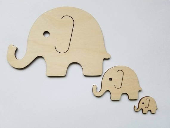 Baby Elephant Cut Outs New Set Of 3 Wooden Elephant Cut Outs Nursery Wall Decor