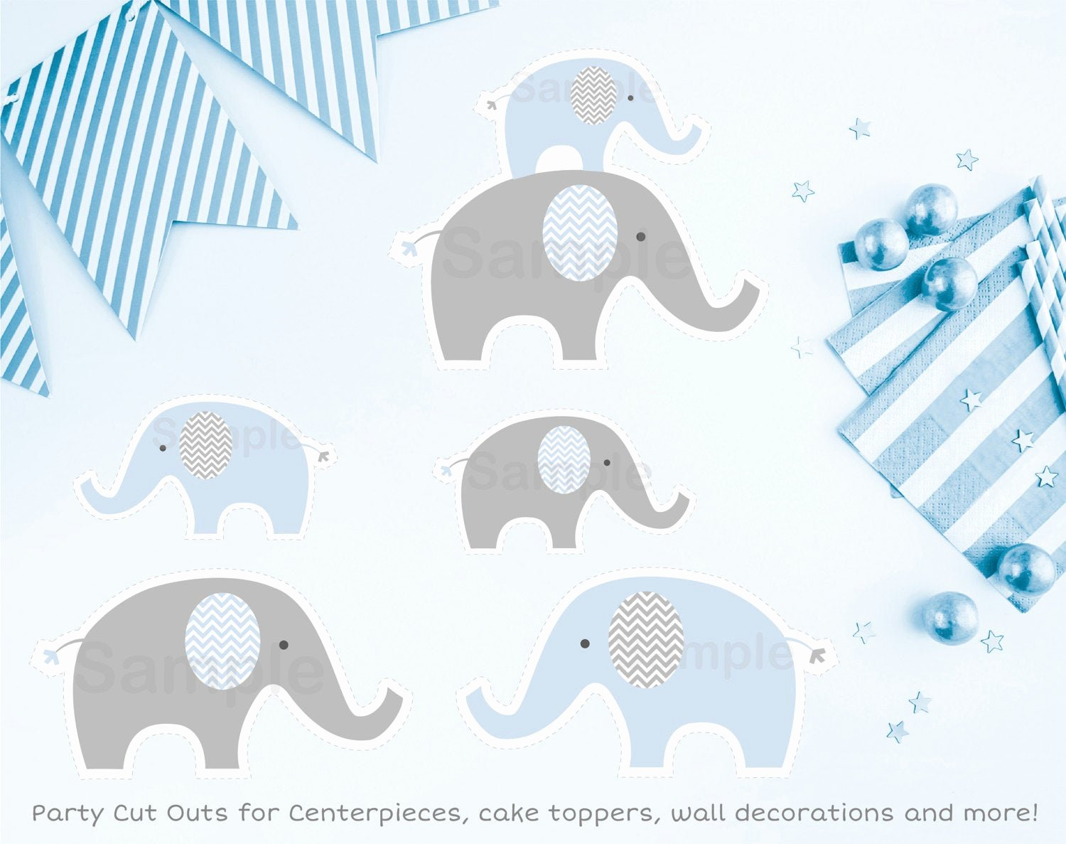 Baby Elephant Cut Outs Unique Cute Elephant Cut Outs Elephant Baby Shower Blue Elephant