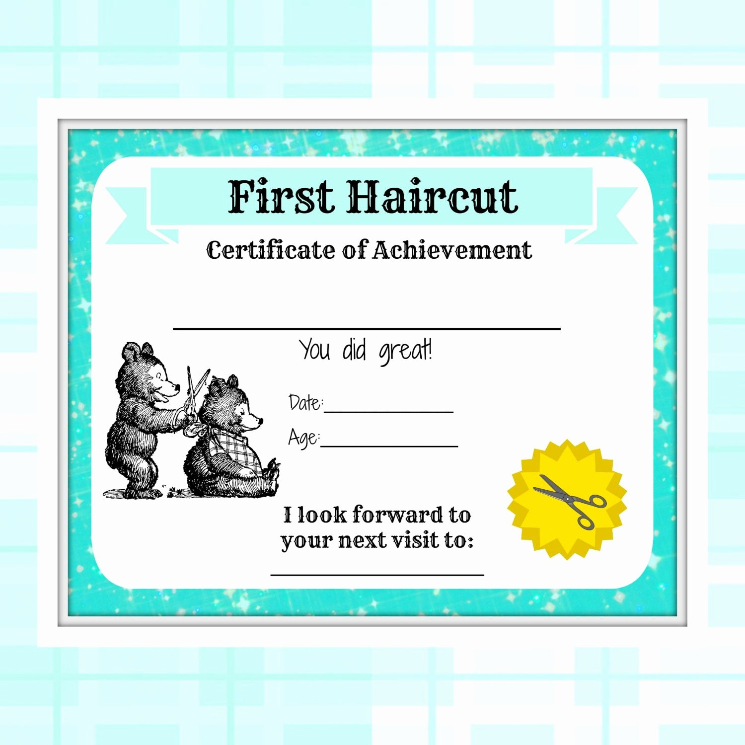 Baby First Haircut Certificate Elegant First Haircut Certificate Baby First Haircut