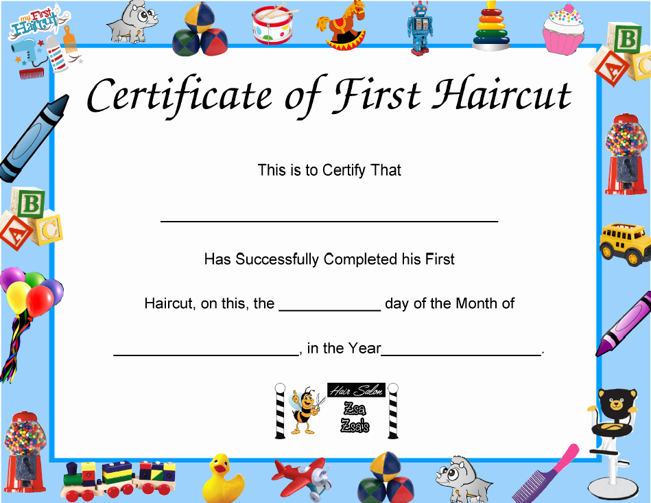 Baby First Haircut Certificate Fresh First Time to A Salon ⋆ Zsa Zsa S Hair Salon