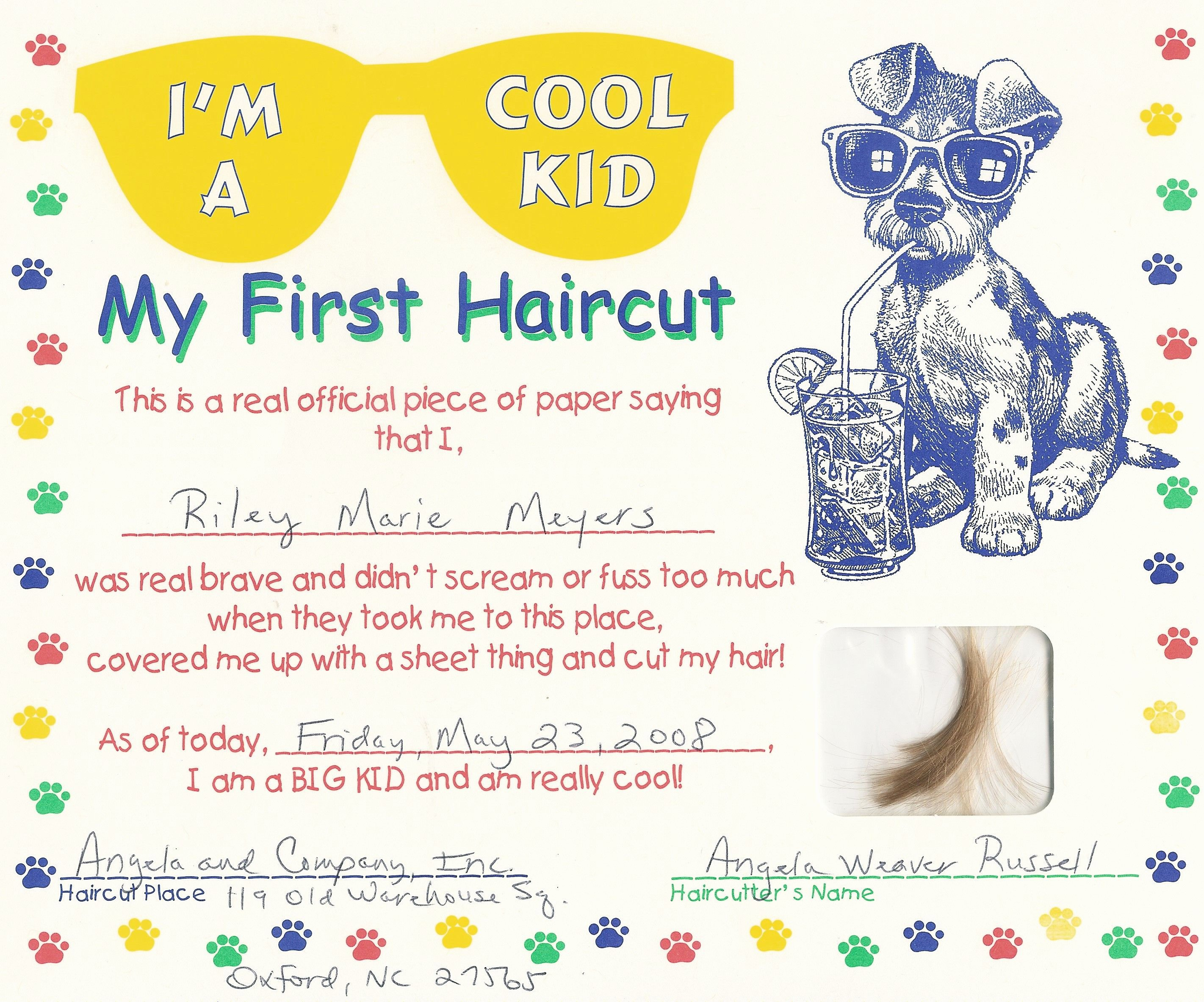 Baby First Haircut Certificate Inspirational First Haircut Certificate Free My Cakepins