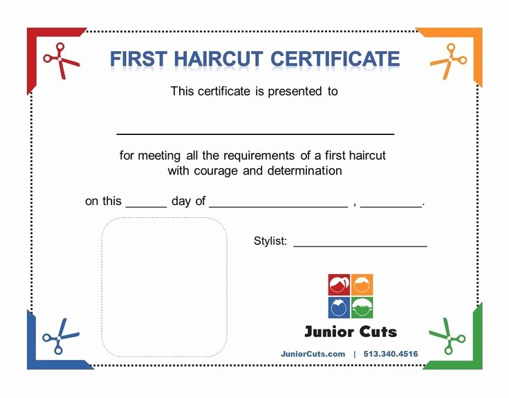 Baby First Haircut Certificate Lovely Every First Haircut at Junior Cuts Receives A