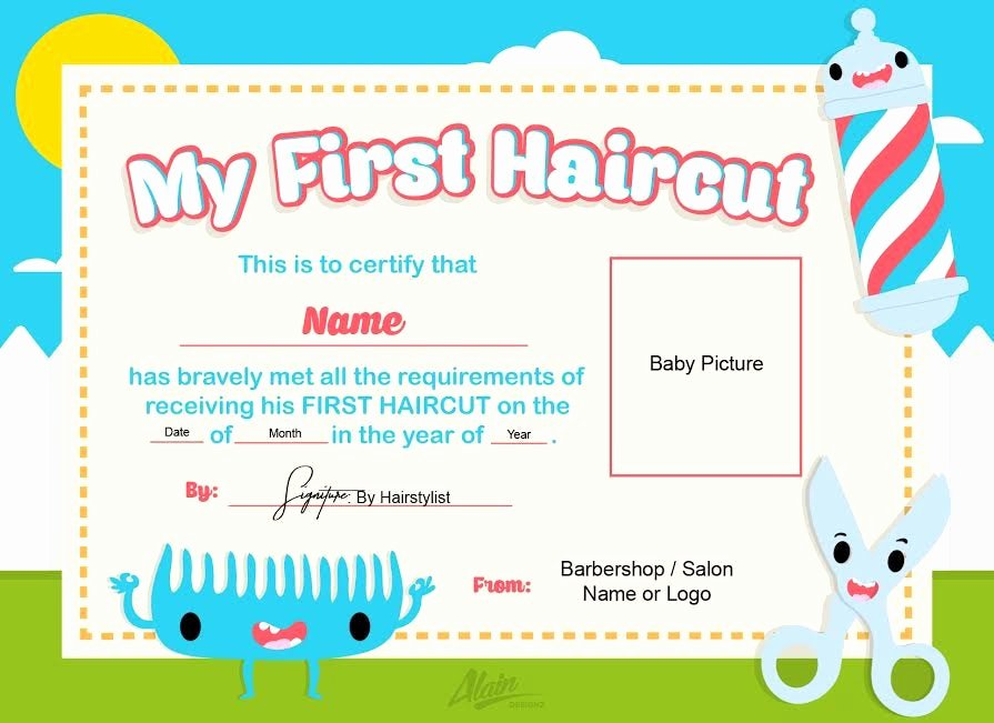 Baby First Haircut Certificate New First Haircut Certificate Baby Haircut Certificate 8x10