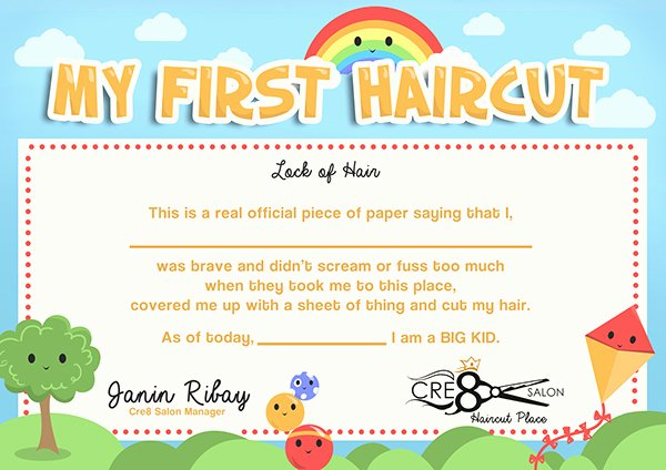 Baby First Haircut Certificate New Kid S First Haircut Certificate On Behance