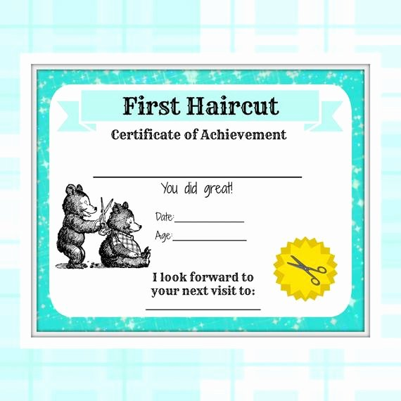Baby First Haircut Certificate Unique First Haircut Certificate Baby First Haircut