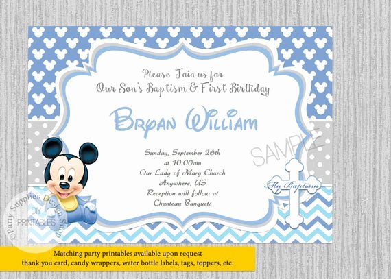 Baby Mickey 1st Birthday Invitations Beautiful Baby Mickey Mouse Christening Invitations Baby Mickey Baptism