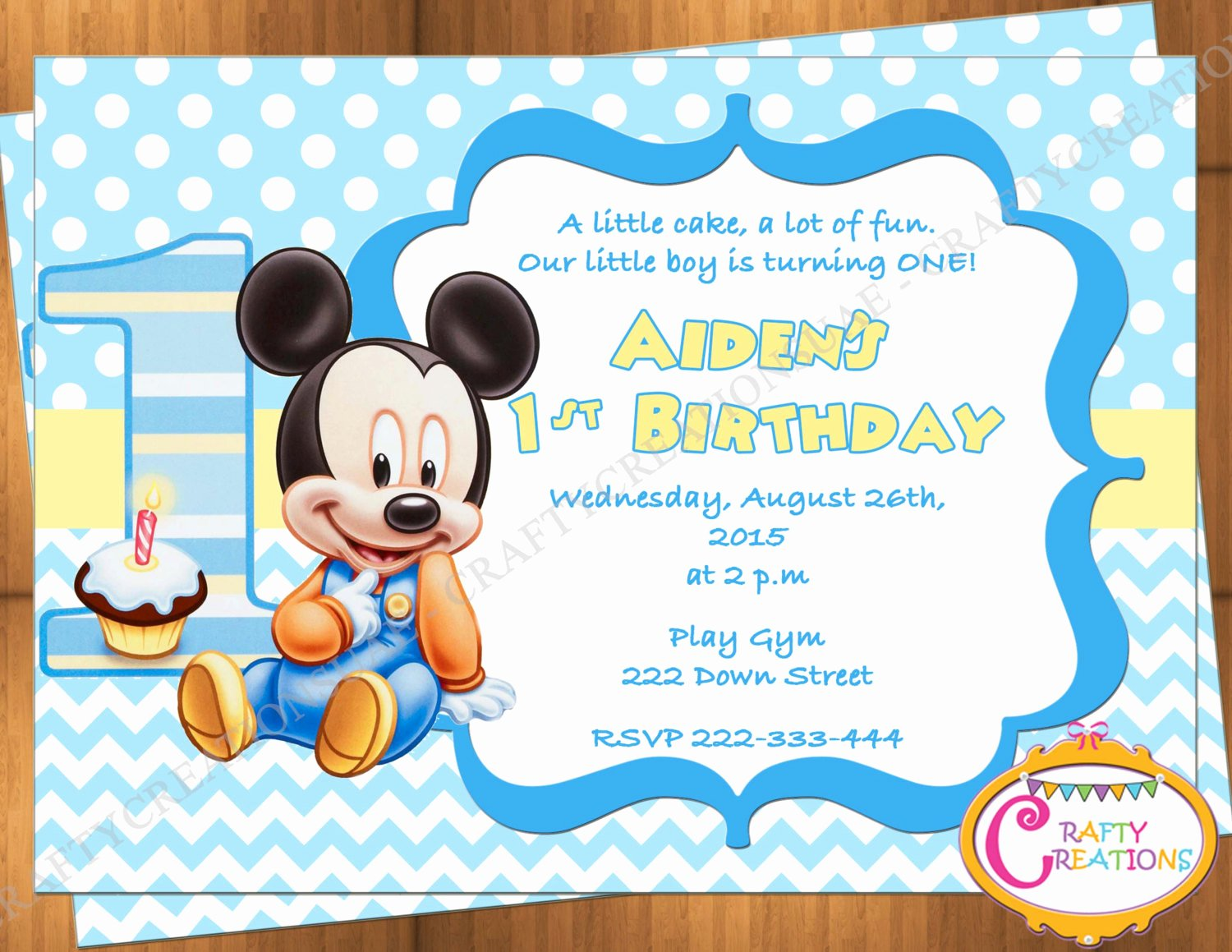 Baby Mickey 1st Birthday Invitations Beautiful Baby Mickey Mouse First Birthday Invitation Mickey Mouse 1st