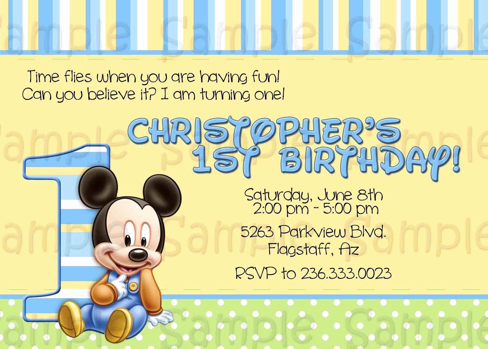 Baby Mickey 1st Birthday Invitations Beautiful Baby Mickey Mouse Invitation Printable 1st Birthday
