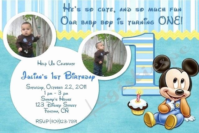 Baby Mickey 1st Birthday Invitations Beautiful Details About Disney Baby Mickey Mouse 1st Birthday