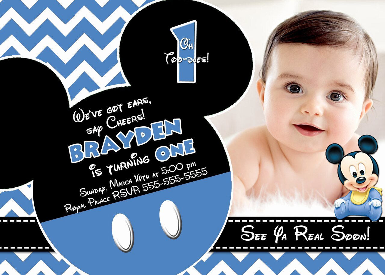 Baby Mickey 1st Birthday Invitations Elegant Chevron Baby Mickey Mouse 1st Birthday Invitation
