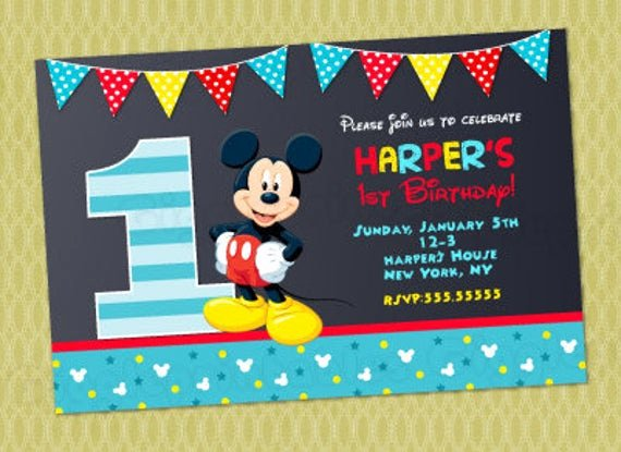 Baby Mickey 1st Birthday Invitations Elegant Mickey Mouse 1st Birthday Invitations Mickey Invitations