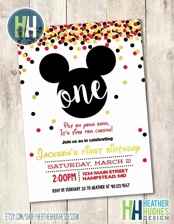 Baby Mickey 1st Birthday Invitations Elegant Mickey Mouse First Birthday Invite Boy 1st by