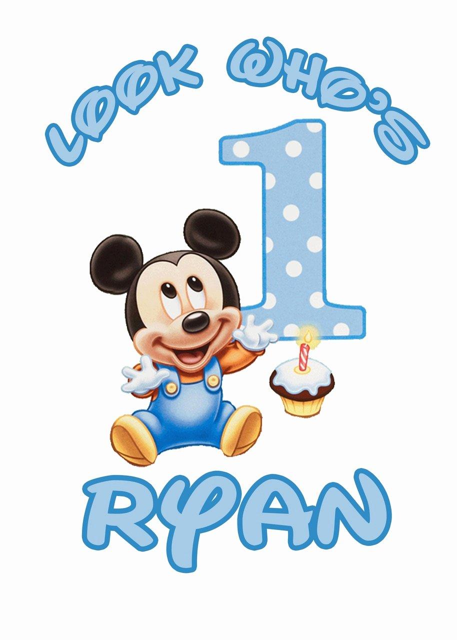 Baby Mickey 1st Birthday Invitations Inspirational Baby Mickey Mouse 1st Birthday Tshirt Iron Transfers