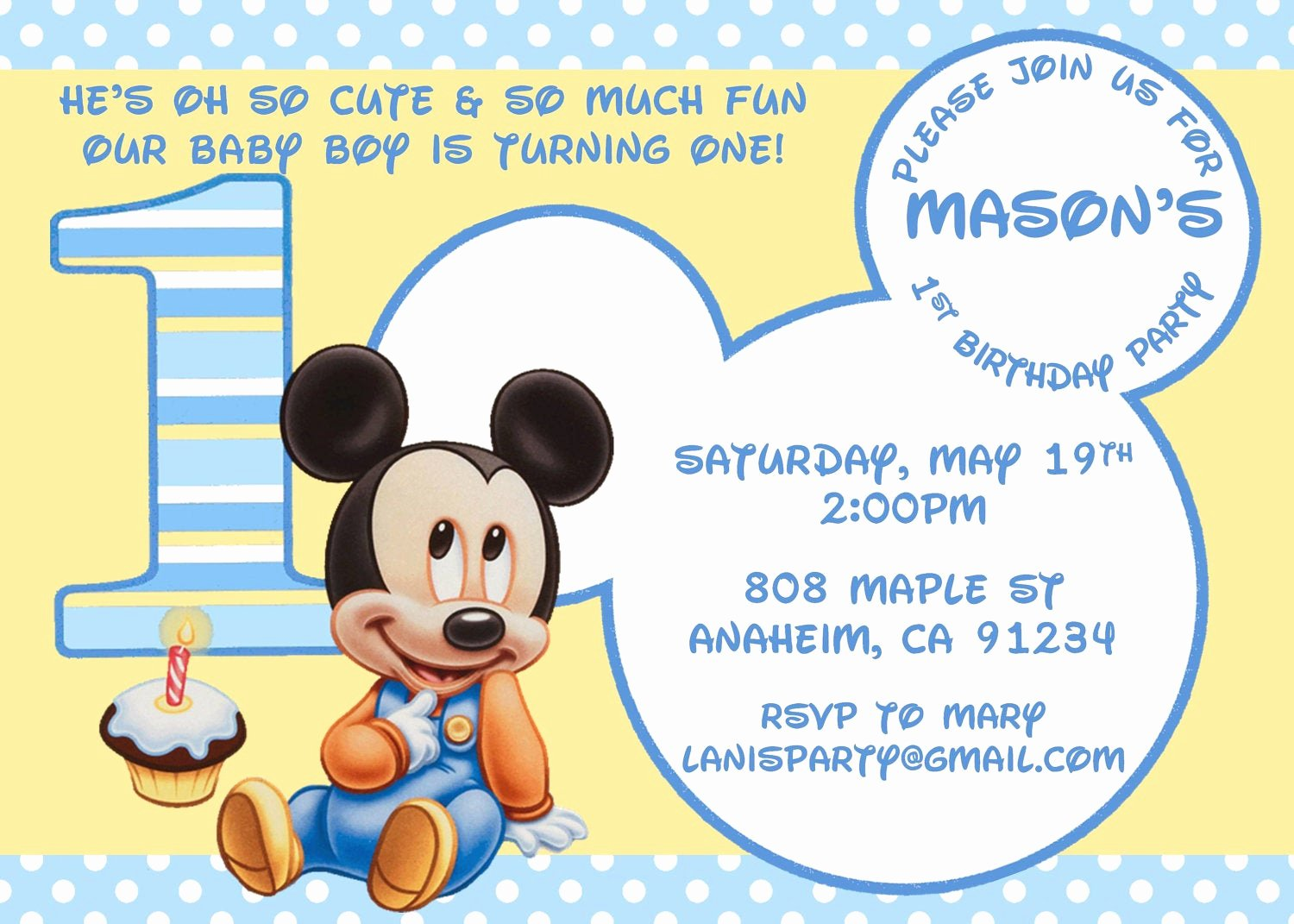 Baby Mickey 1st Birthday Invitations Inspirational Baby Mickey Mouse Matches Mickey S 1st Party by