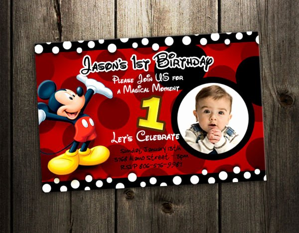 Baby Mickey 1st Birthday Invitations Inspirational Mickey Mouse Birthday Invitation Party Card Photo Invites
