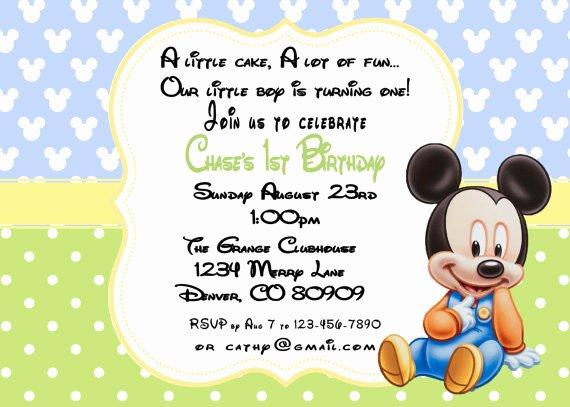 Baby Mickey 1st Birthday Invitations Lovely Printable Pdf Mickey Mouse Birthday 1st Birthday Invitation