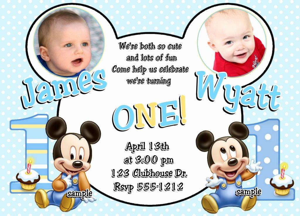 Baby Mickey 1st Birthday Invitations Luxury Baby Mickey Mouse Twins Boys 1st Birthday Invitations