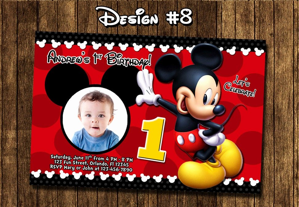 Baby Mickey 1st Birthday Invitations Luxury Mickey Mouse Baby First Birthday Party Invitations