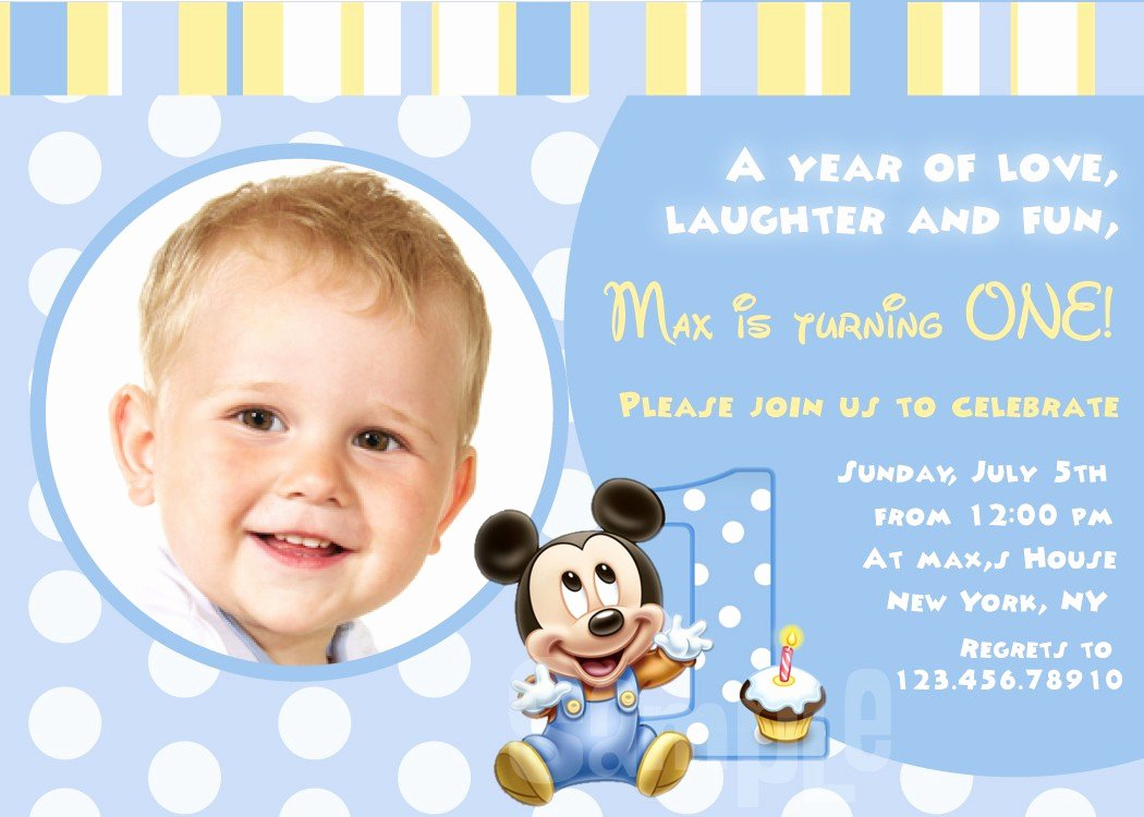 Baby Mickey 1st Birthday Invitations New Baby First Birthday Invitations – Bagvania Free Printable