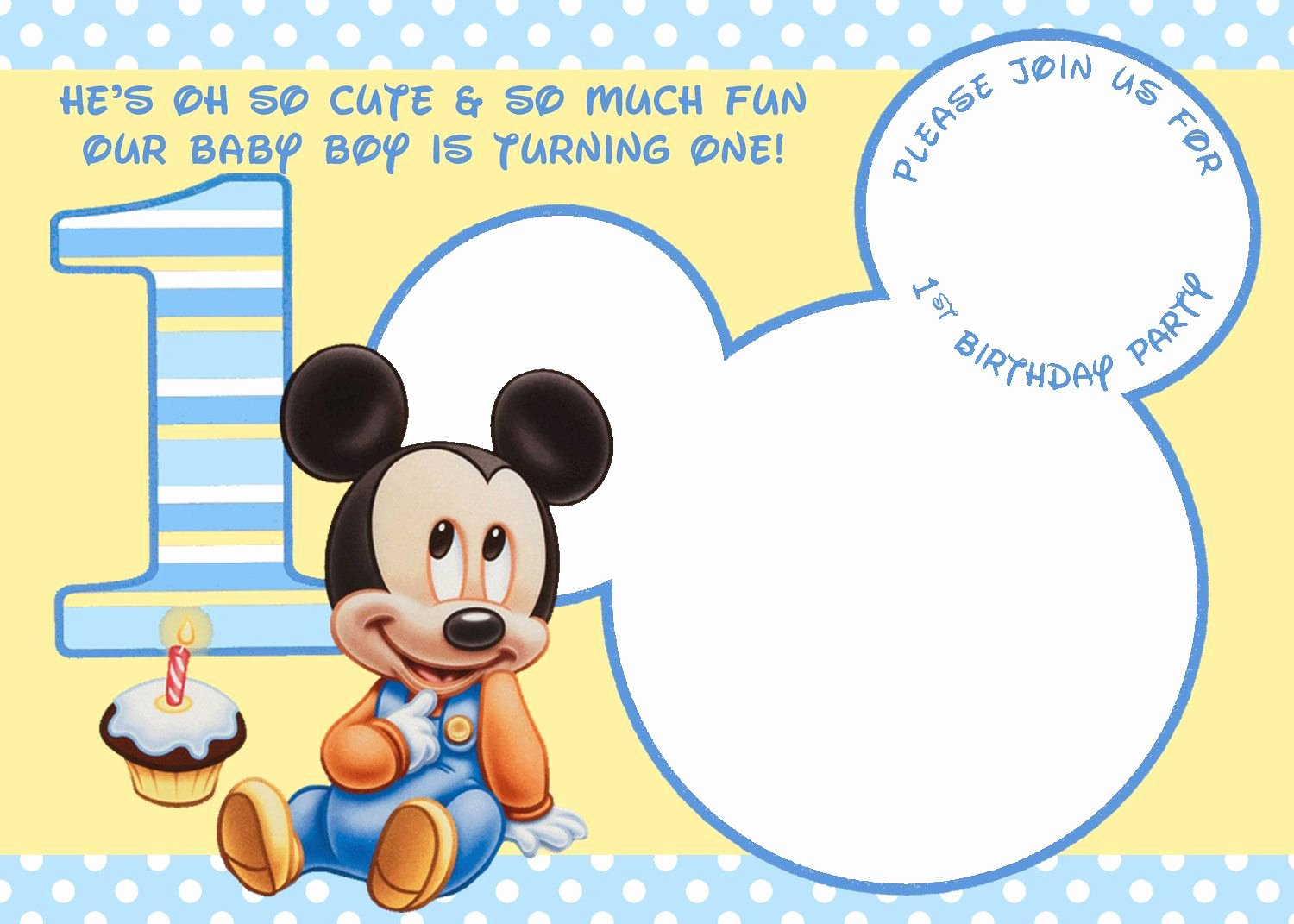Baby Mickey 1st Birthday Invitations New Baby Mickey 1st Birthday Invitations