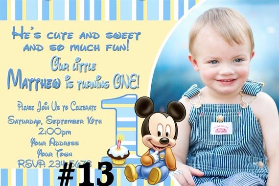 Baby Mickey 1st Birthday Invitations New Baby Mickey Mouse First Birthday Invitation by Letspartyshoppe