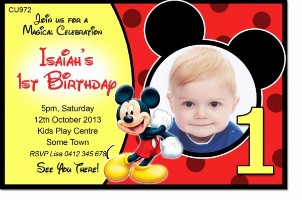 Baby Mickey 1st Birthday Invitations New Cu972 Mickey Mouse Birthday Invite Girls themed
