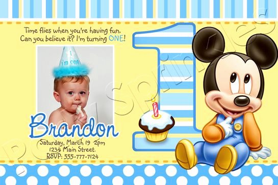 Baby Mickey 1st Birthday Invitations Unique Baby Mickey Mouse Party Blue Polka Dots Invitation