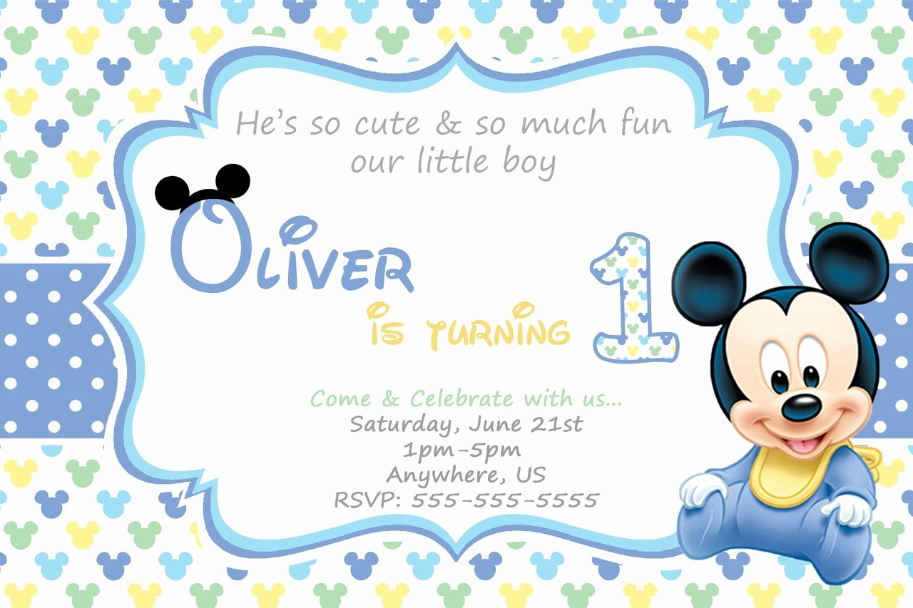 Baby Mickey Birthday Invitations Awesome Baby Mickey 1st Birthday Invitations Partyexpressinvitations