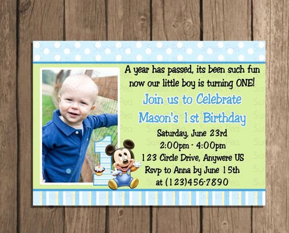 Baby Mickey Birthday Invitations Awesome Baby Mickey Mouse Boy 1st First Birthday by Sweetpeaprintz