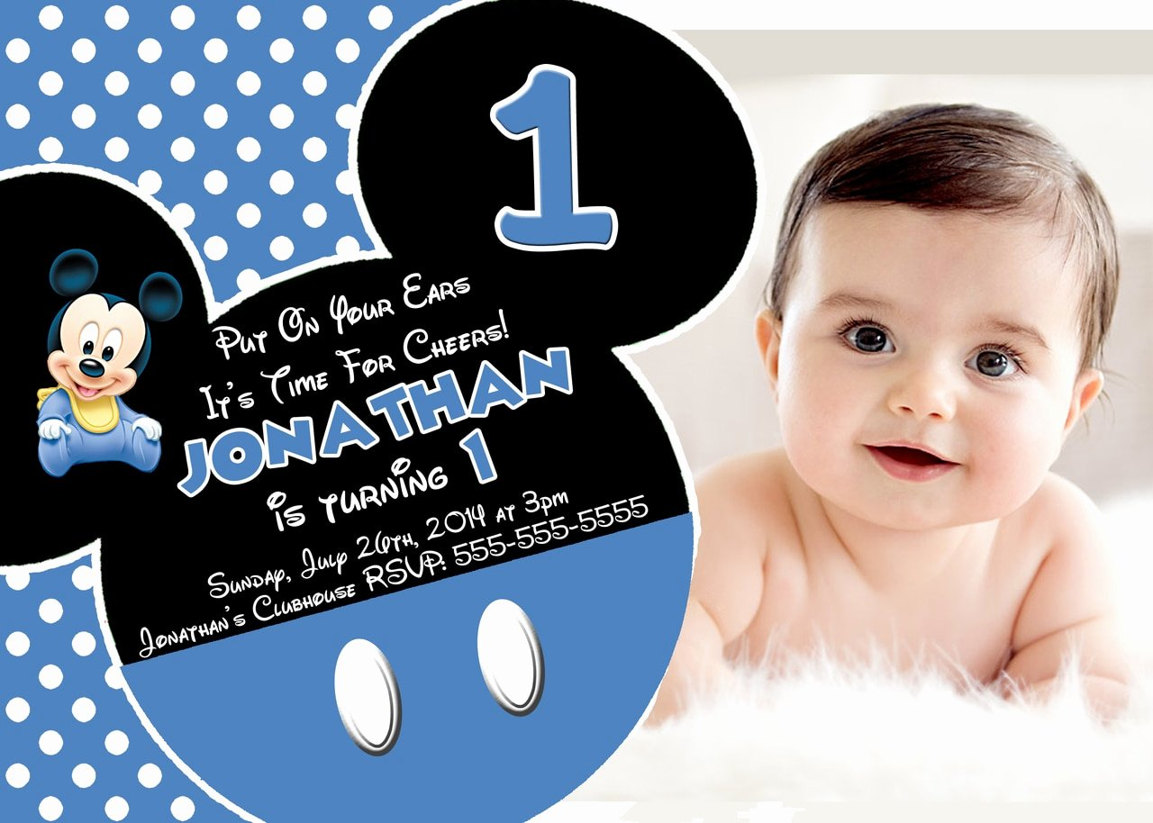 Baby Mickey Birthday Invitations Awesome Disney Baby Mickey 1st Birthday Invitations