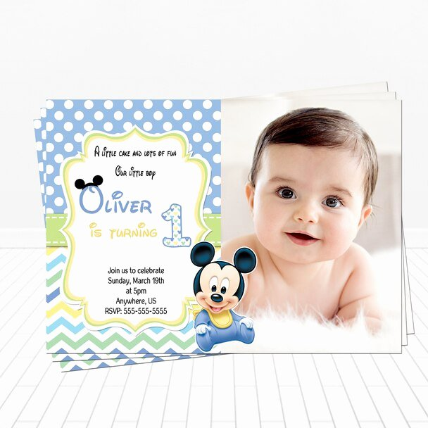 Baby Mickey Birthday Invitations Beautiful Baby Mickey 1st Birthday Invitation