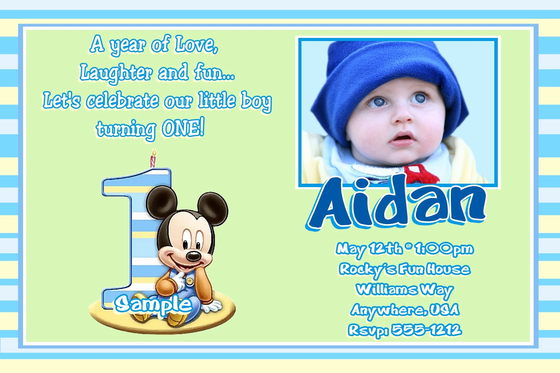 Baby Mickey Birthday Invitations Beautiful Baby Mickey Birthay Invitation