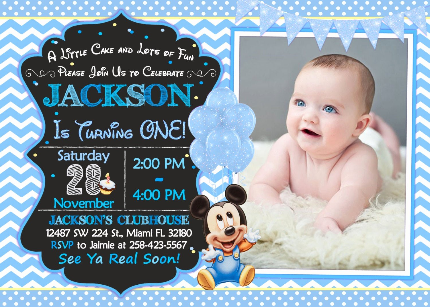 Baby Mickey Birthday Invitations Beautiful Baby Mickey Mouse First Birthday Invitation Baby Mickey Mouse
