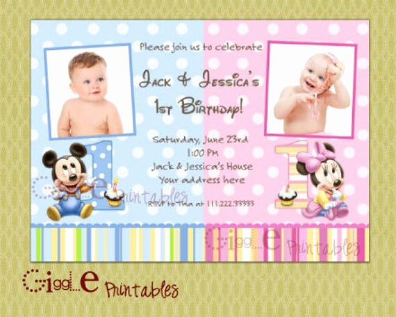 Baby Mickey Birthday Invitations Elegant Baby Mickey Mouse Minnie Mouse Twin Birthday Invitation