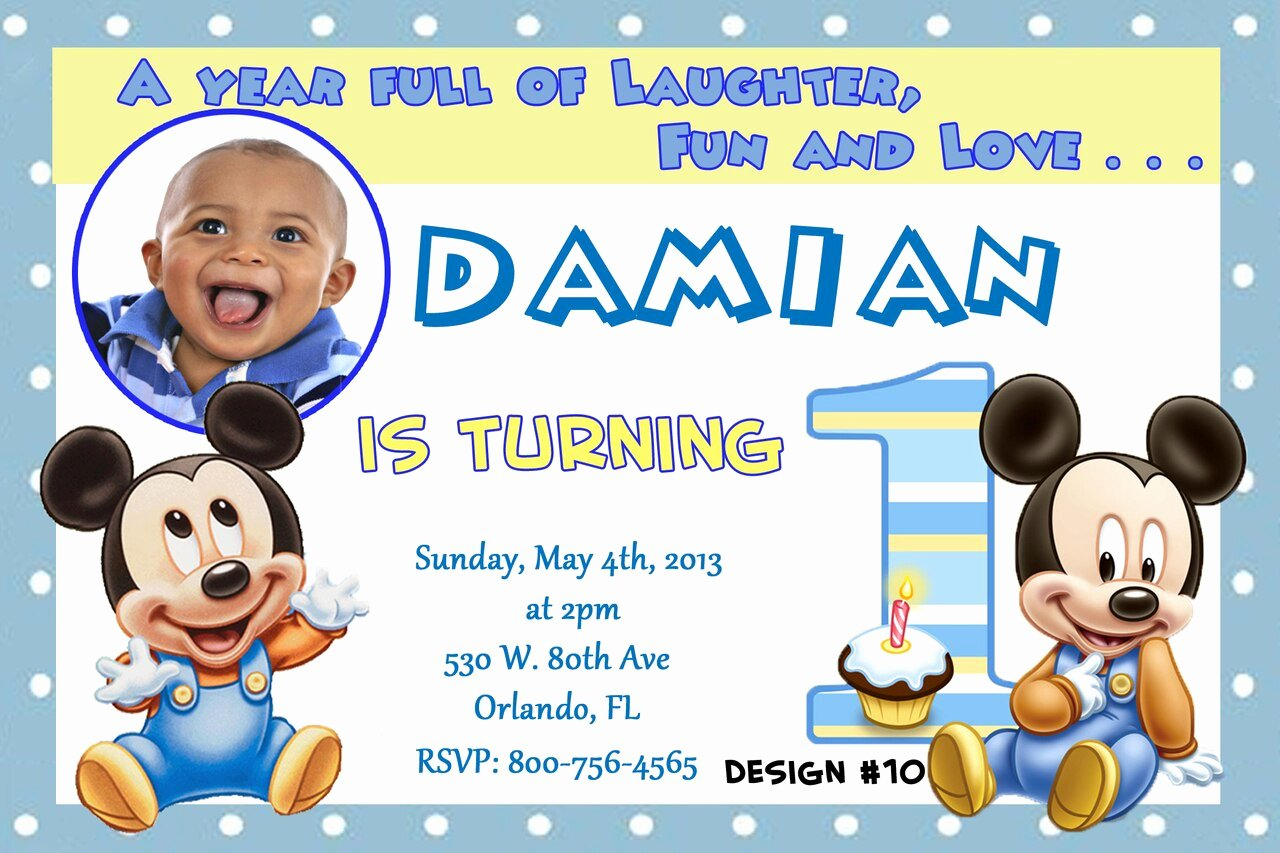 Baby Mickey Birthday Invitations Fresh Baby Mickey Mouse 1st Birthday Invitations