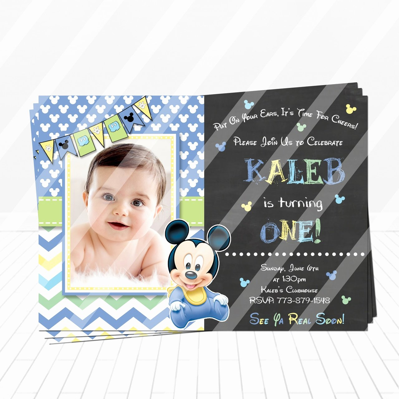 Baby Mickey Birthday Invitations Fresh Cute Baby Mickey 1st Birthday Invitation