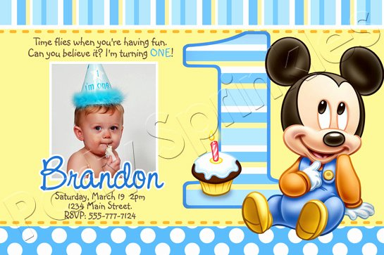 Baby Mickey Birthday Invitations Lovely Baby Mickey First Birthday Invitations