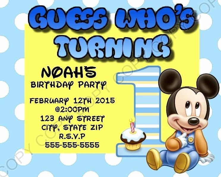 Baby Mickey Birthday Invitations Lovely Disney Baby Mickey Mouse First 1st Birthday Invitation