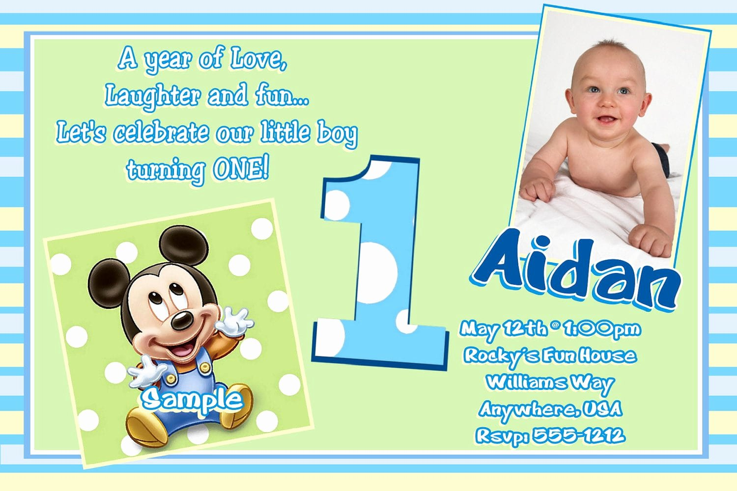 Baby Mickey Birthday Invitations Luxury Baby Mickey Birthay Invitation