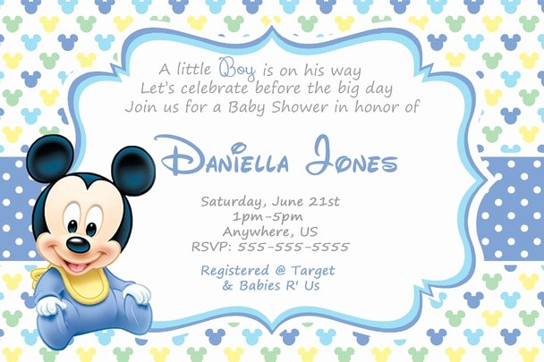 Baby Mickey Birthday Invitations Luxury Baby Mickey Mouse Baby Shower Invitations Cute