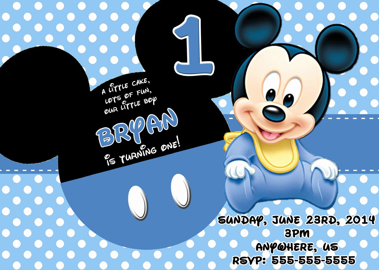 Baby Mickey Birthday Invitations New Baby Disney Invitations