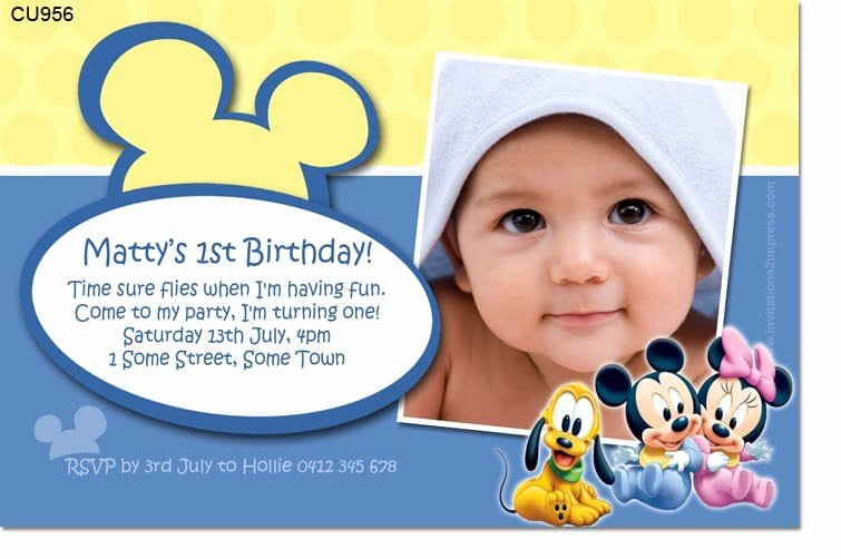 Baby Mickey Birthday Invitations New Baby Mickey Birthday Invitation Template